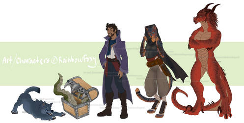 DnD Character Lineup by Rainbow-Foxy