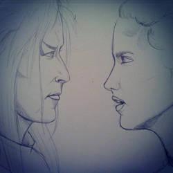 Jareth and Sarah WIP by rebecca-w