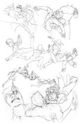 Fight sketches by comicsINC