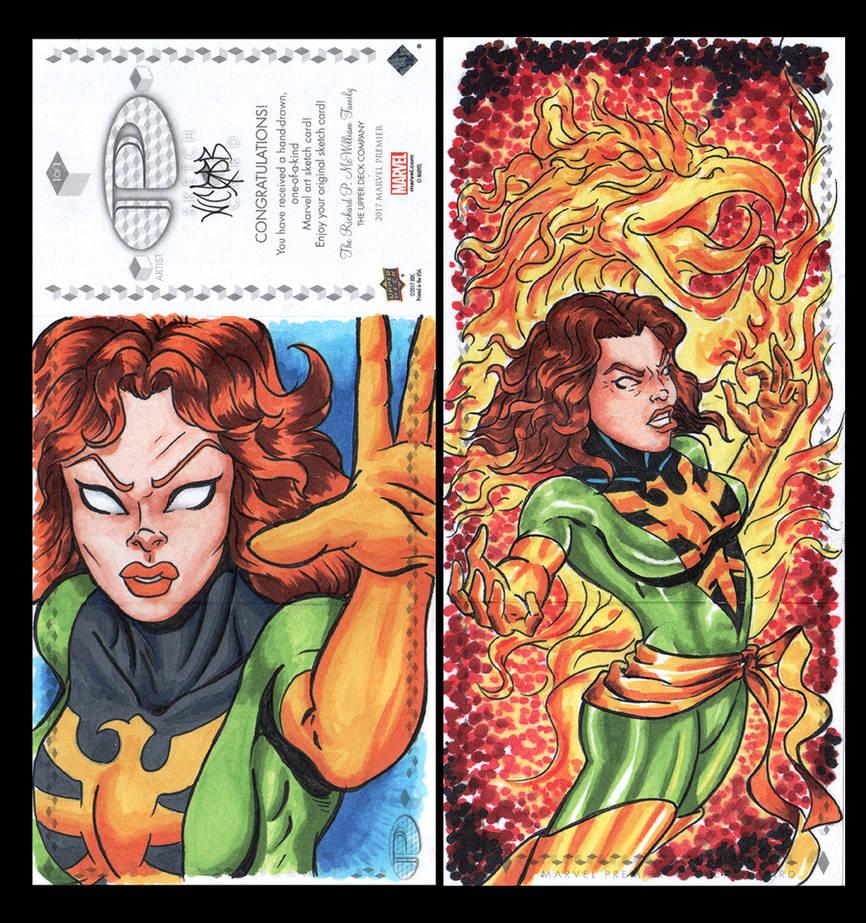 Phoenix Marvel premiere sketch card by comicsINC
