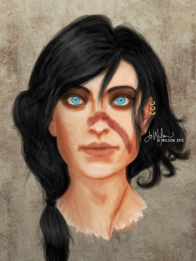 Blood-swiped Aria Hawke by Auridesion