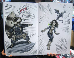 Rocket Raccoon and Shadowcat by AdamWithers