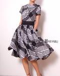 Black White Cotton 50s Dress by yystudio
