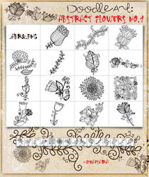 Abstract Flowers No1 DoodleArt by Diamara