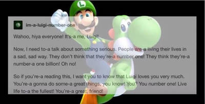 You Are Number One  (a message from Luigi) by AnimeLover917