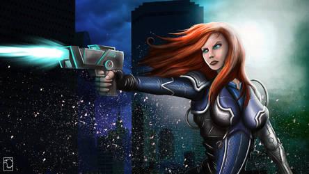 Random Armored Female firing pistol off screen by birdmanstudio