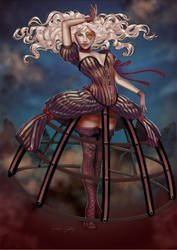 The woman in wind by Little-Ginkgo