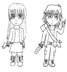 Chibi OCs: Stacie and Kai by Tamanta