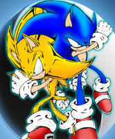 Sonic VS Super Sonic Ying Yang by Mephilez