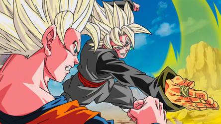 Goku Black ssj vs Goku ssj2 Saga Buu style by daimaoha5a4