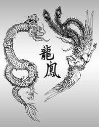 Chinese Dragon and Phoenix by ScorpionDeathlock