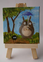 Totoro and Soot Cross Over Mini Painting by LunaAshley