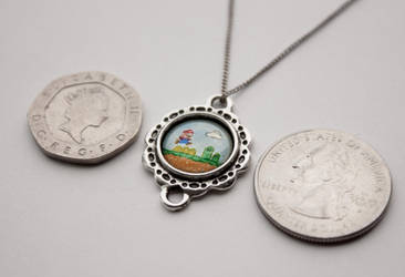 Tiny hand painted Super Mario pendant by LunaAshley