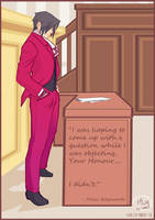 Ace Attorney: Miles Edgeworth in courtroom by Medlih