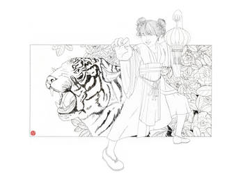chinese tiger kung fu girl lineart by Rijio