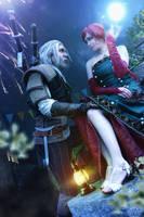 Geralt and Triss Maskenball by NunnallyLol