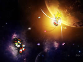 Super Sonic And Shadow by EdenEvoX