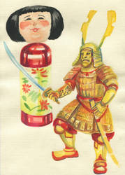 Samurai and Kokeshi by T-Nightingale