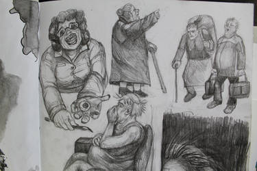 Elderly people sketch detail by T-Nightingale