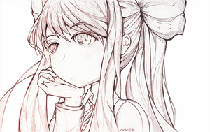 [DDLC] Monika Lost in Thought by Cyba-Fyba