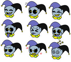 Jevil facial expressions pt. 1 by Inkythepuppet