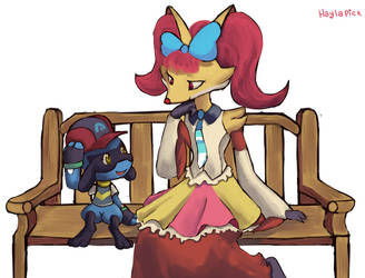 Riolu and Delphox by Haylapick