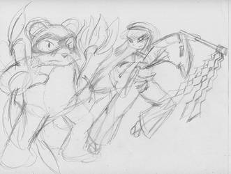 Pocky and Rocky Sketch by KingMonster