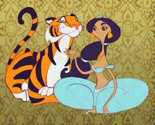 Jasmine and Rajah by spicysteweddemon
