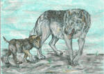 mother and baby wolf by VioletMinim