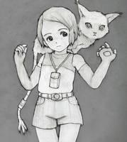 Digimon - Hikari and Gatomon (Sketch) by orion510