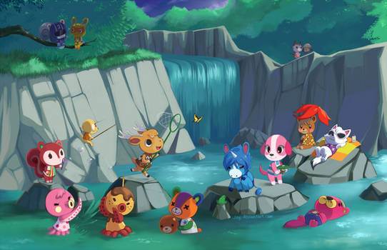Animal Crossing - Waterfall by Jiayi