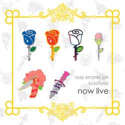 [PROJECT LIVE] rose enamel pin kickstarter! by Jiayi