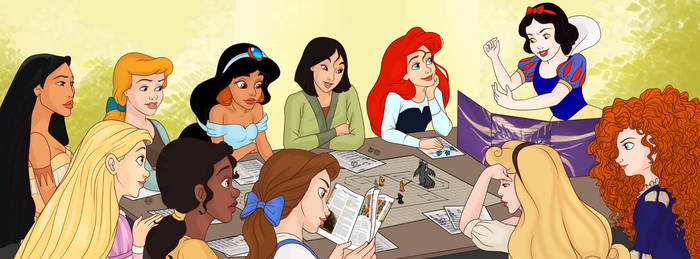 Princesses Playing DnD by madam-marla