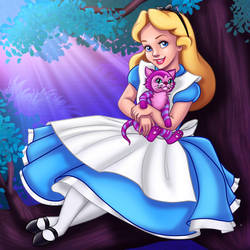 Alice and the Cheshire Kitten by madam-marla
