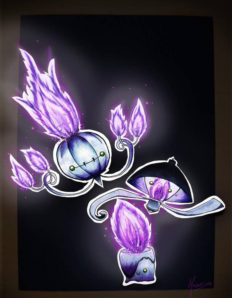 95 607 608 609 Litwick Lampent Chandelure Pan Stickers Pokemon On