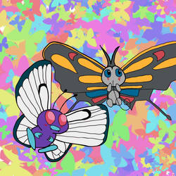 012 and 267 - Butterfree and Beautifly by Cazweigun