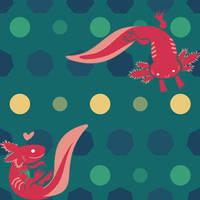 Axolotls greenish tile seamless pattern by Kna