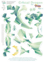 Crystal Dragon Statue Papercraft pattern01 by Kna