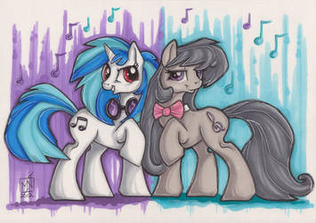 Vinyl Scratch and Octavia by Kattvalk