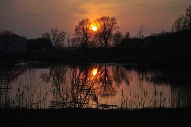 Sunset next little pond. by Gimper43