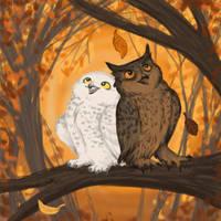 autum owls by Nenu