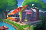 The Happy Hippy bar and motel by XGingerWR