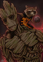 Guardians of the Galaxy - We are Groot by Kumagorochan