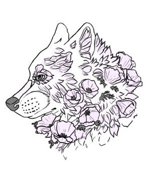 Flower Wolf tatto by Luichy1322