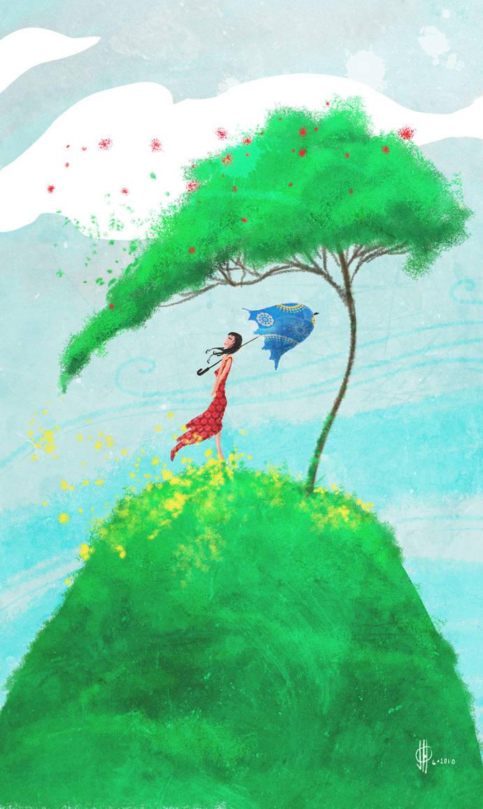 Girl on Seuss Hill by feeesh