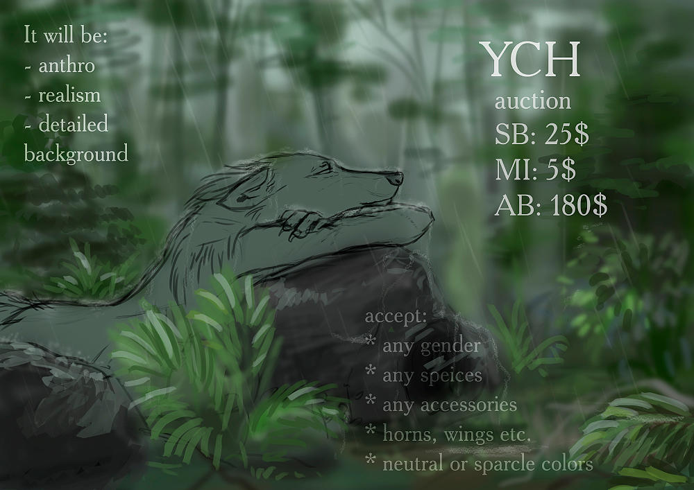 YHC auction [ENDED] - rainy forest by Kelshray