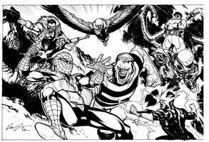 Spider-Man vs Sinister 6 by rafaelalbuquerqueart