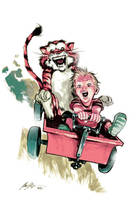 Calvin and Hobbes by rafaelalbuquerqueart