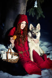 Red Riding Hood and Gray Wolf by AsherWarr