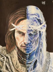 Colored pencil Talion and Celebrimbor by TheBabyDragons